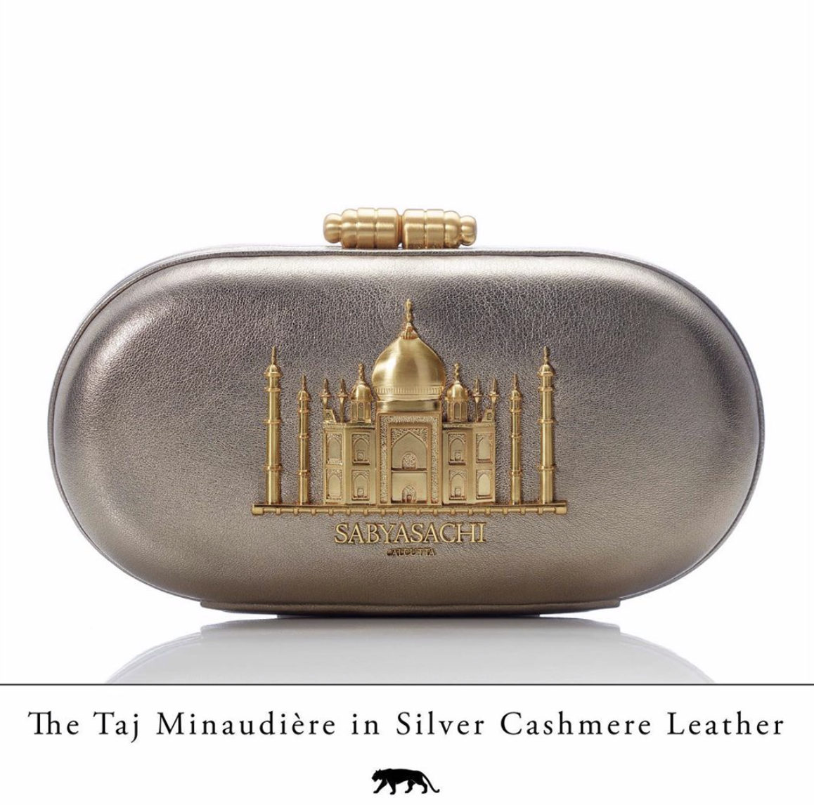 Sabyasachi Taj Minaudiere in Silver Cashmere Clutch - The Grand Trunk