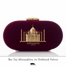 Load image into Gallery viewer, Sabyasachi Taj Minaudiere in Oxblood Velvet Clutch - The Grand Trunk