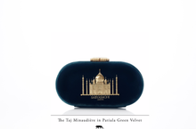 Load image into Gallery viewer, Sabyasachi Taj Minaudiere in Patiala Green Velvet Clutch - The Grand Trunk