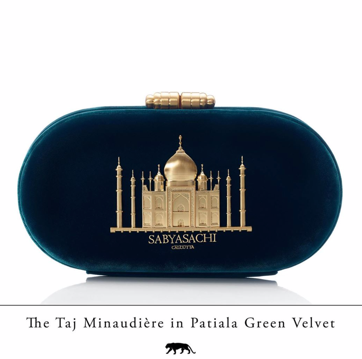 Sabyasachi Taj Minaudiere in Patiala Green Velvet Clutch - The Grand Trunk