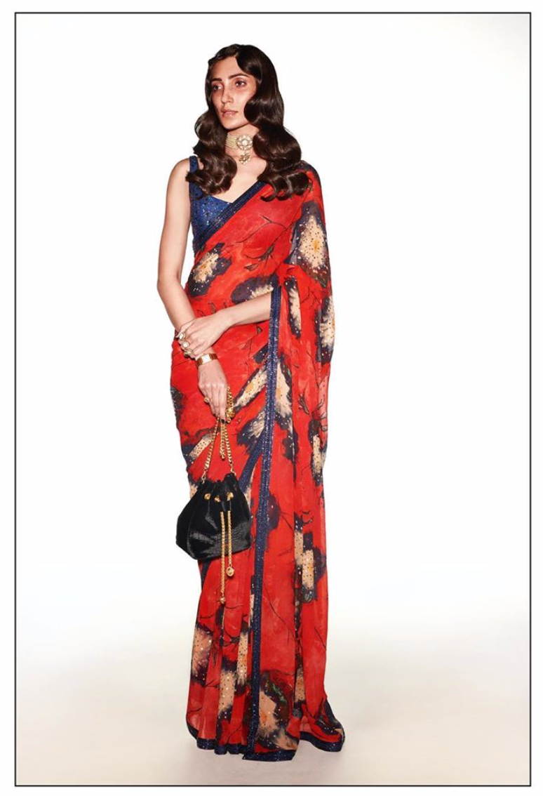 Sabyasachi Summer 2020 Blue Poppy Cocktail Sari - The Grand Trunk