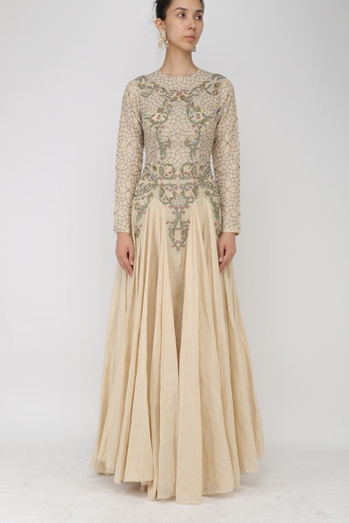 Geometric & Floral Embroidered Anarkali - The Grand Trunk