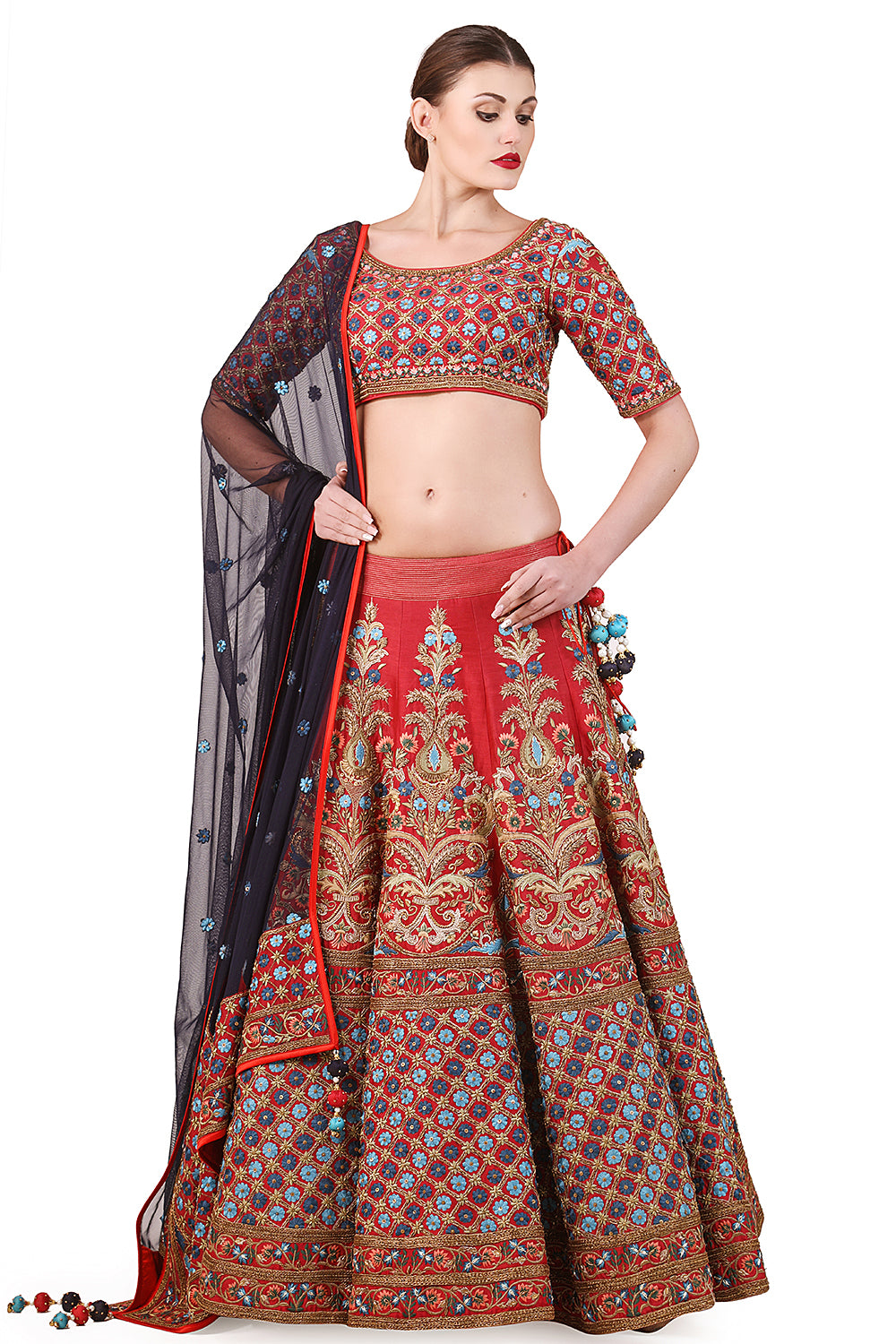 Embroidered Lehenga, blouse & dupatta set