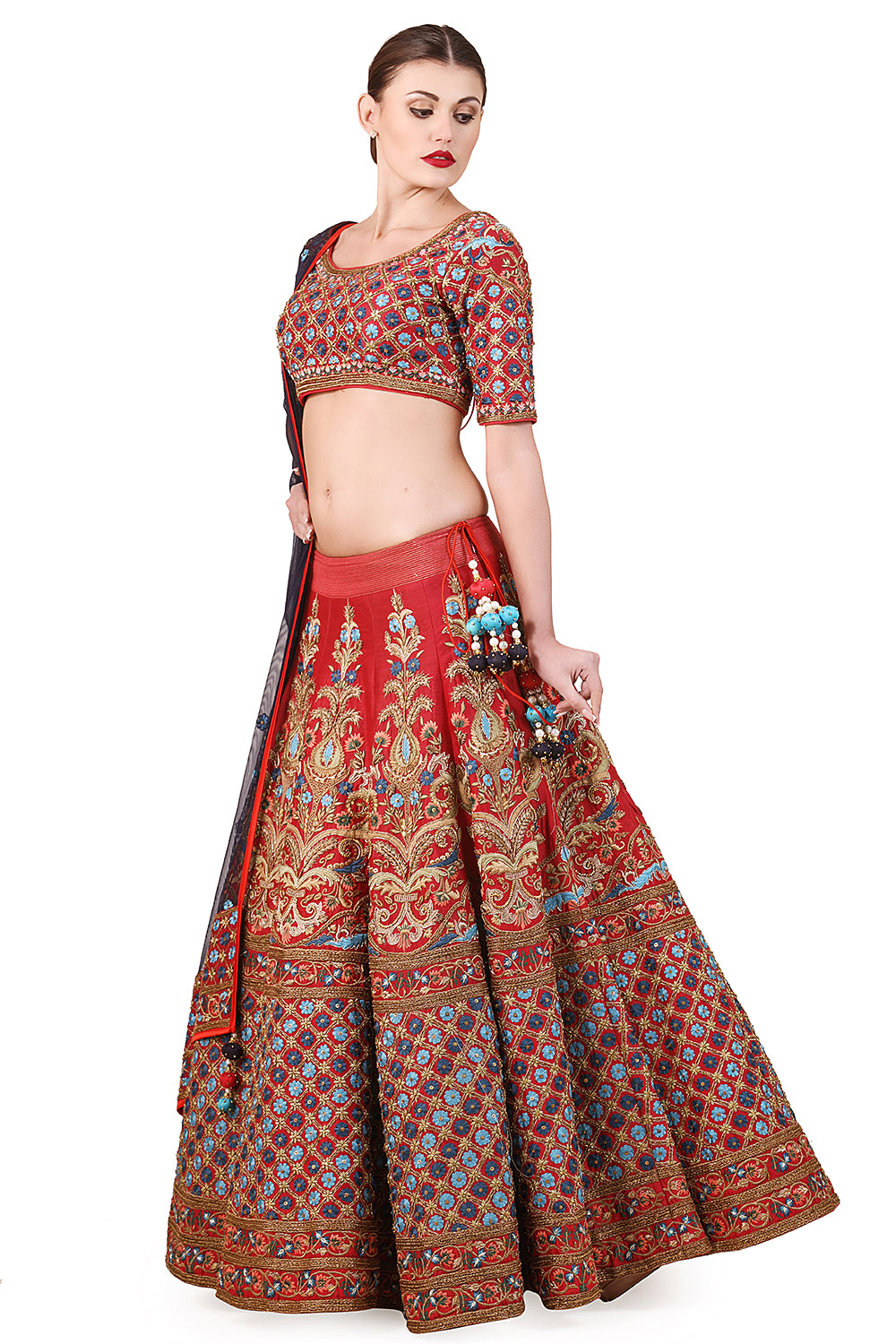 Embroidered Lehenga, blouse & dupatta set - The Grand Trunk