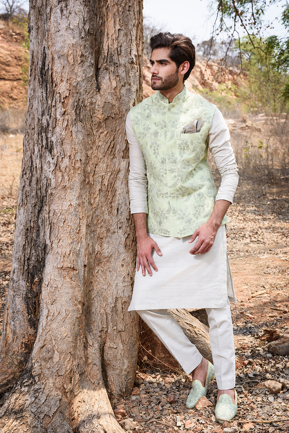 Mint Green Rawsilk with Self Threadwork Embroidery and Pearl Highlights - The Grand Trunk