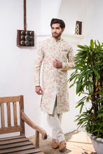 Load image into Gallery viewer, Off White Rawsilk with Colored Threadwork Embroidery - The Grand Trunk