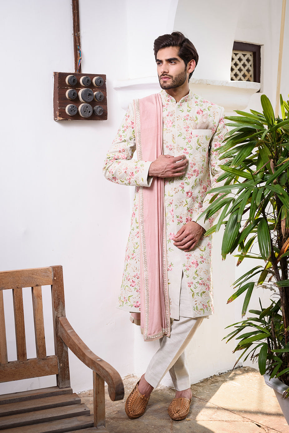 Off White Rawsilk with Colored Threadwork Embroidery - The Grand Trunk