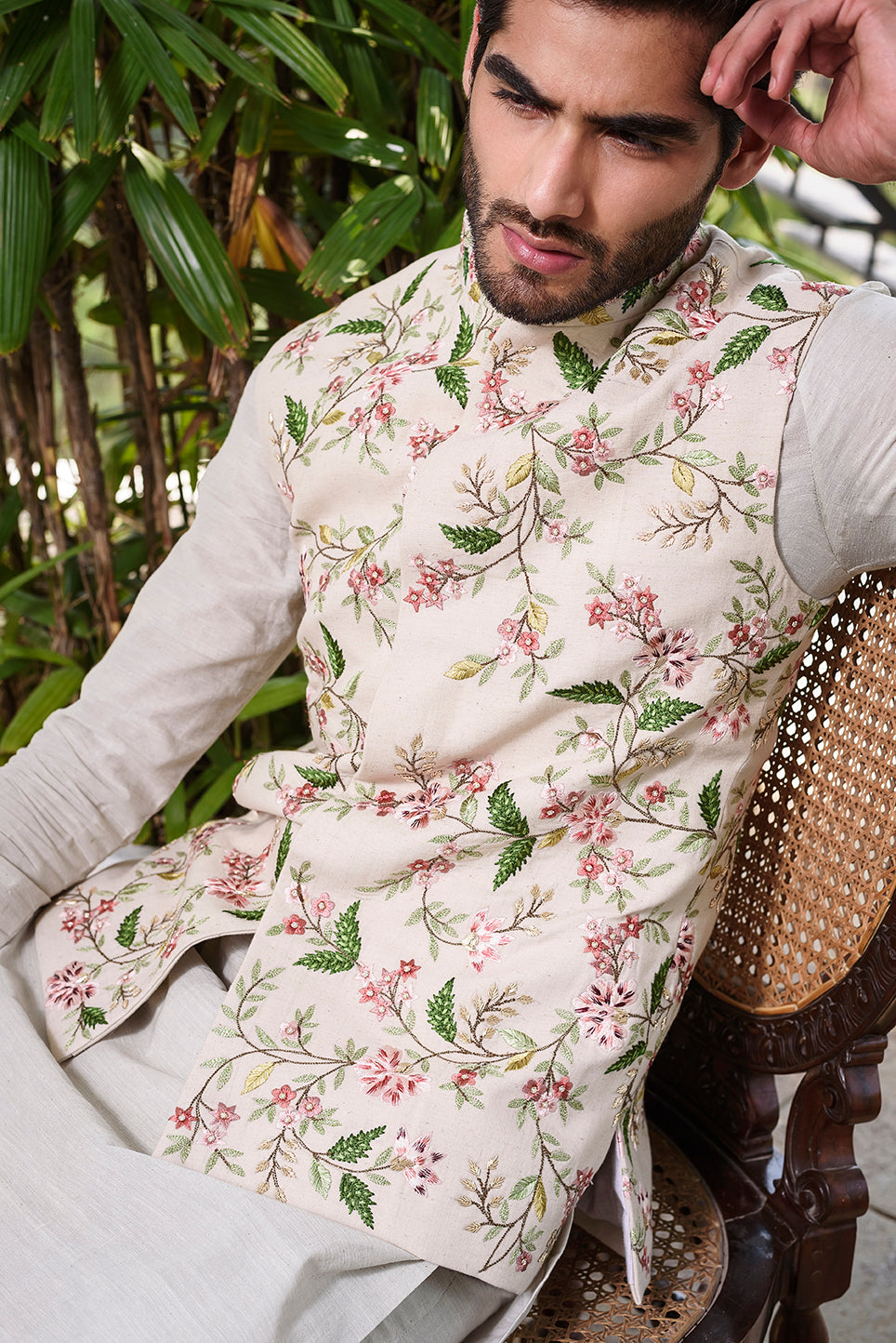 Off White Rawsilk with Colored Threadwork Floral Embroidery - The Grand Trunk