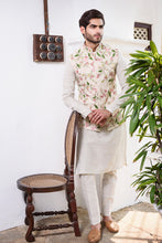Load image into Gallery viewer, Off White Rawsilk with Colored Threadwork Floral Embroidery - The Grand Trunk
