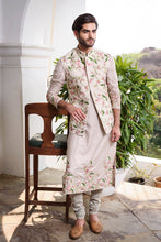 Load image into Gallery viewer, Beige Rawsilk with Colored Threadwork Embroidery - The Grand Trunk