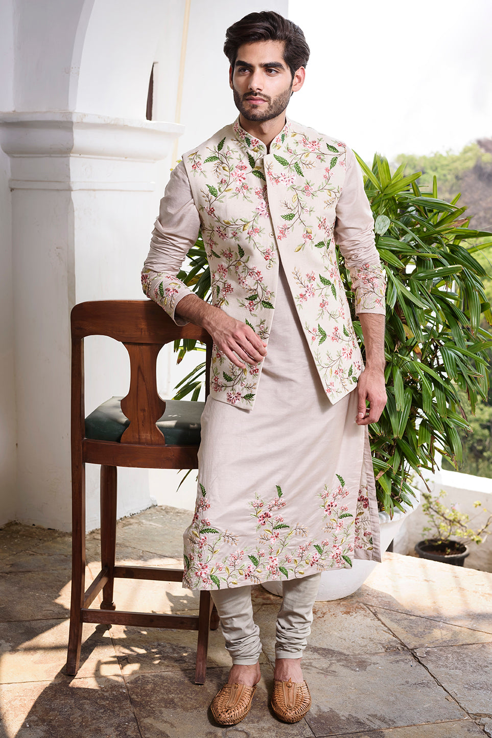 Beige Rawsilk with Colored Threadwork Embroidery - The Grand Trunk