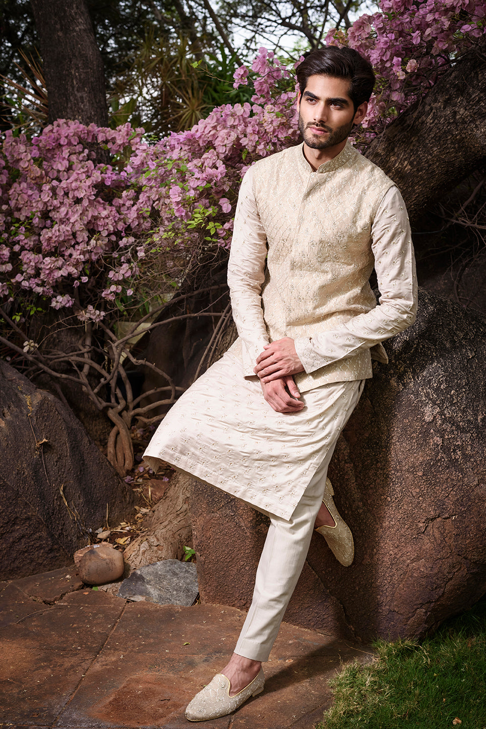 Gold Rawsilk with Self Threadwork Embroidery - The Grand Trunk