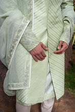Load image into Gallery viewer, Mint Green Rawsilk with Self Threadwork Embroidery and Pearl Highlights - The Grand Trunk