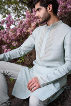 Load image into Gallery viewer, Powder Blue Silk Kurta with embroidery - The Grand Trunk