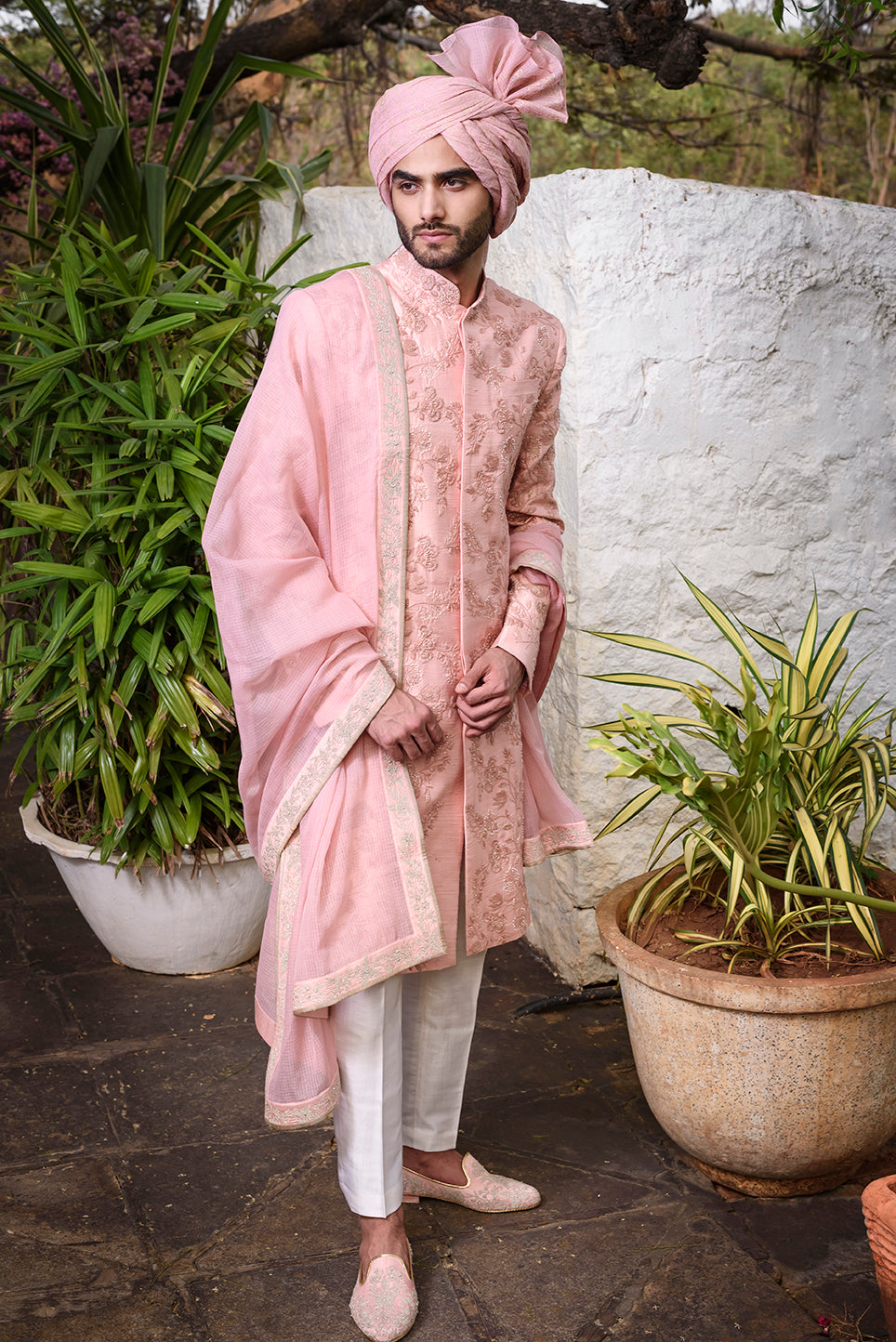 Pink rawsilk Sherwani with self threadwork embroidery and pearl highlights - The Grand Trunk