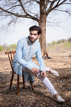 Load image into Gallery viewer, Powder blue kurta with neck embroidery - The Grand Trunk
