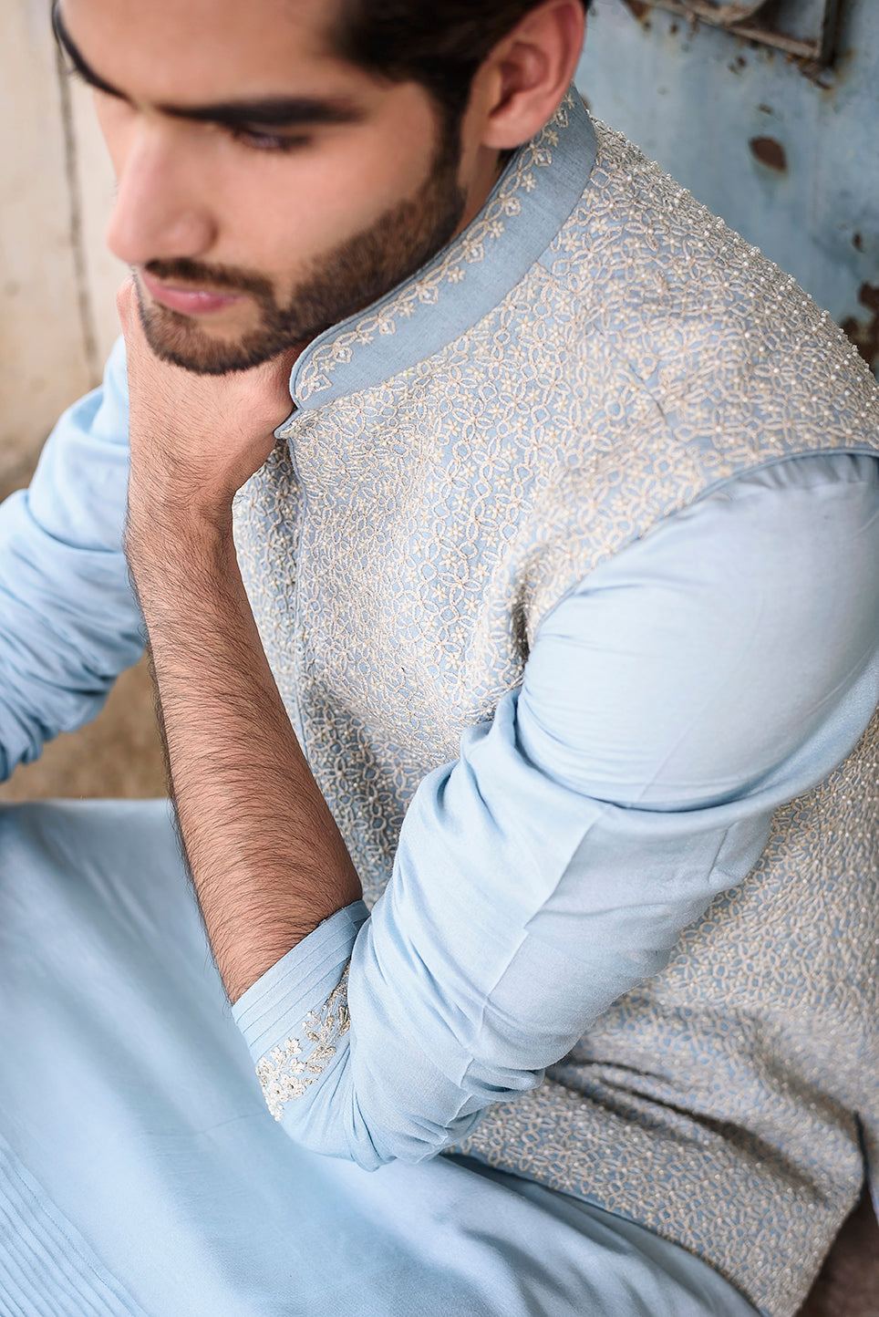 Powder blue rawsilk with self threadwork embroidery and pearl highlights - The Grand Trunk