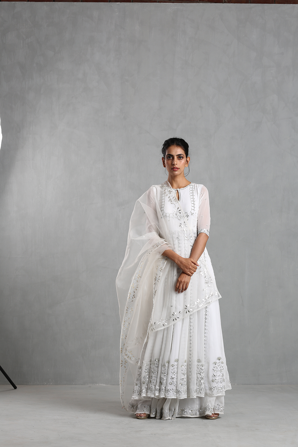 White Embellished Anarkali And Sharara Set - The Grand Trunk
