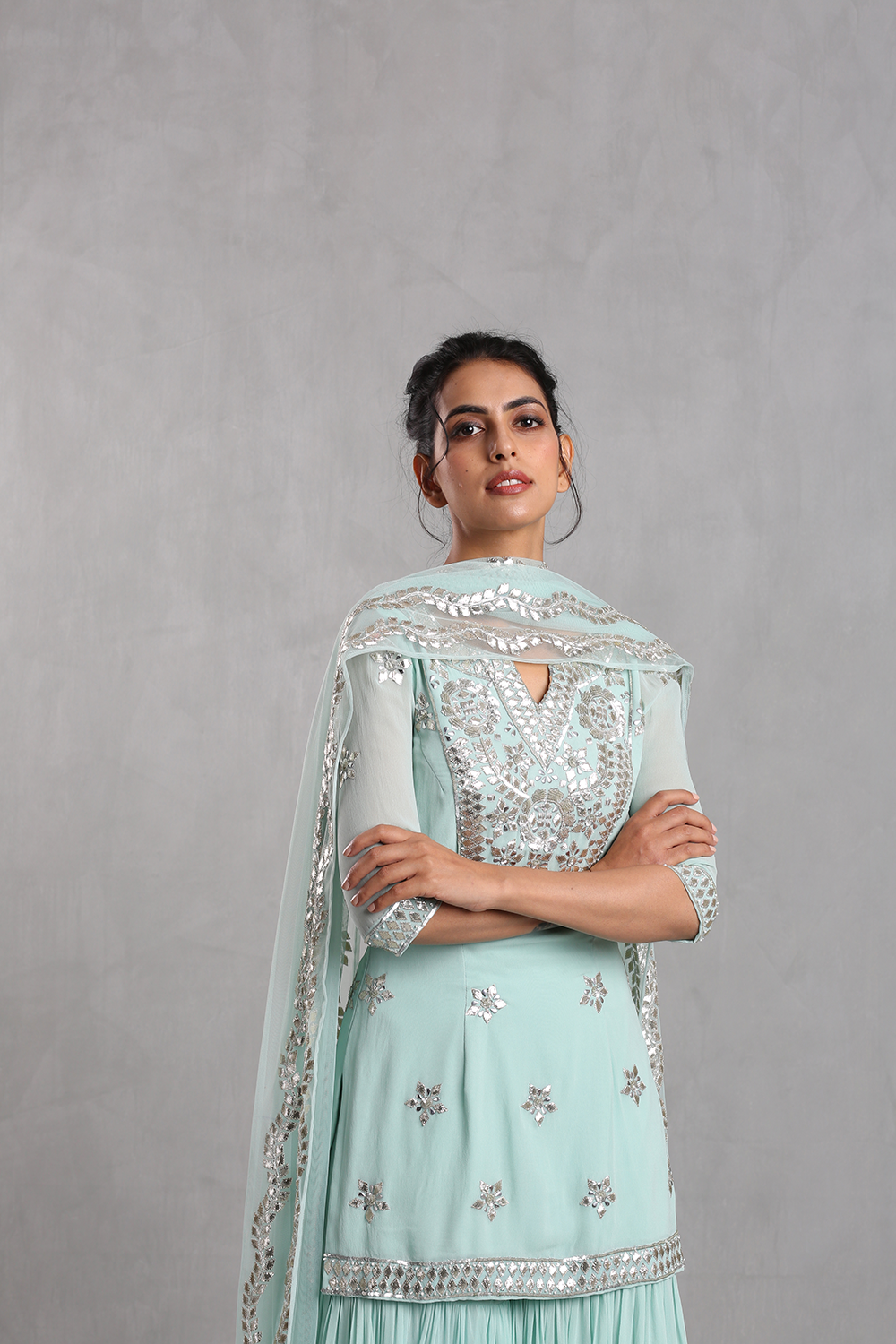 Esha Koul Aqua blue Embroidered Sharara Set - The Grand Trunk