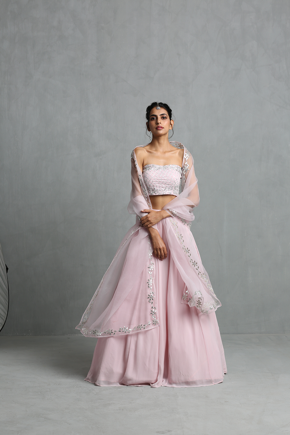 Blush Pink Crop Top, Skirt & Dupatta Set - The Grand Trunk