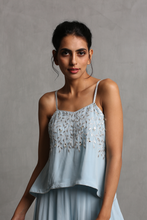 Load image into Gallery viewer, Sky Blue Off Shoulder Crop Top & Plazzo Set - The Grand Trunk