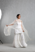 Load image into Gallery viewer, White Embroidered Spaghetti Sharara Set - The Grand Trunk