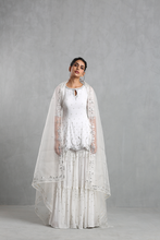 Load image into Gallery viewer, White Embroidered  Sharara Set - The Grand Trunk