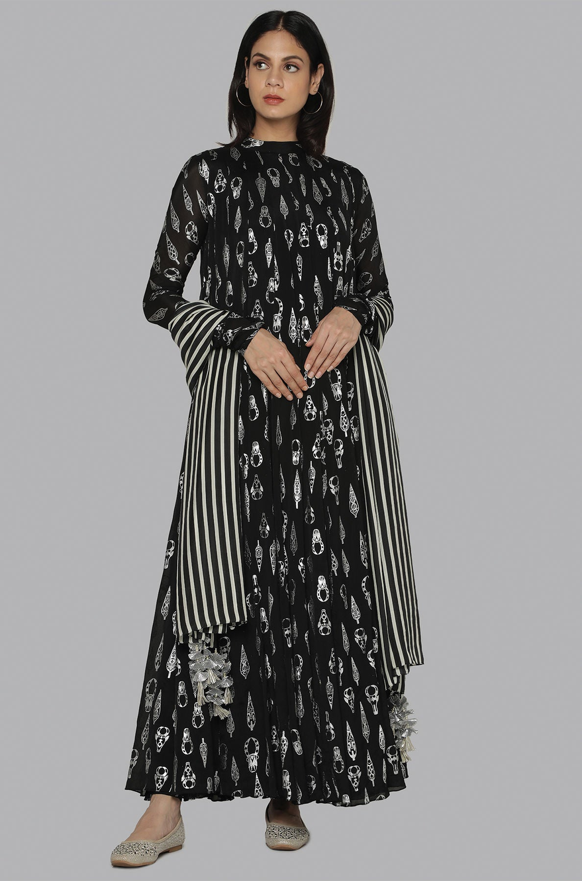 BLACK BULL TRIBE ANARKALI SET - The Grand Trunk
