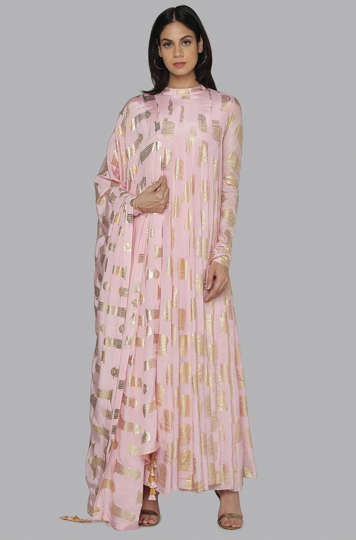 LIGHT PINK COMB ANARKALI SET - The Grand Trunk