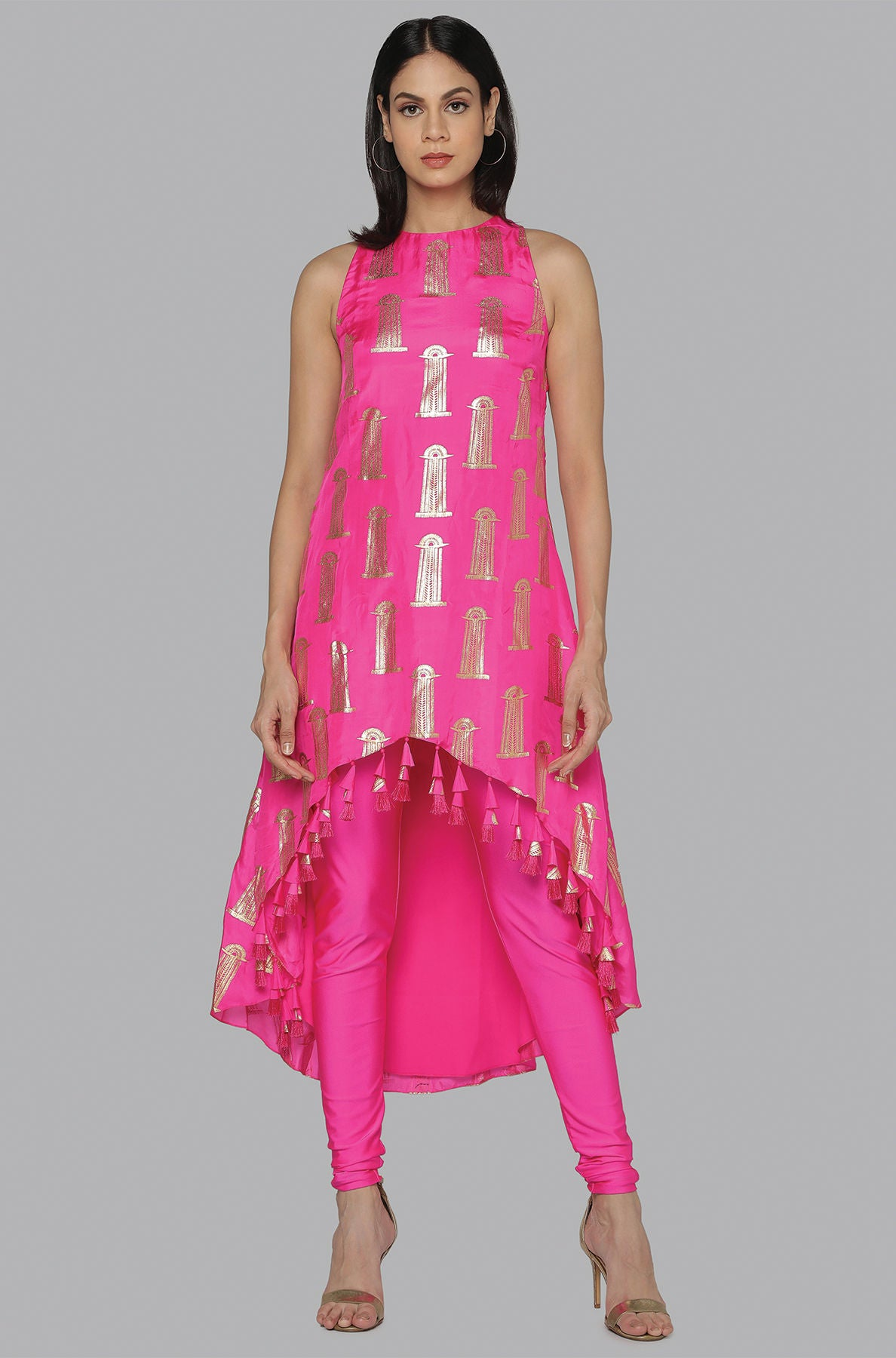 HOT PINK HI-LOW BLOOMING PILLAR TUNIC SET - The Grand Trunk