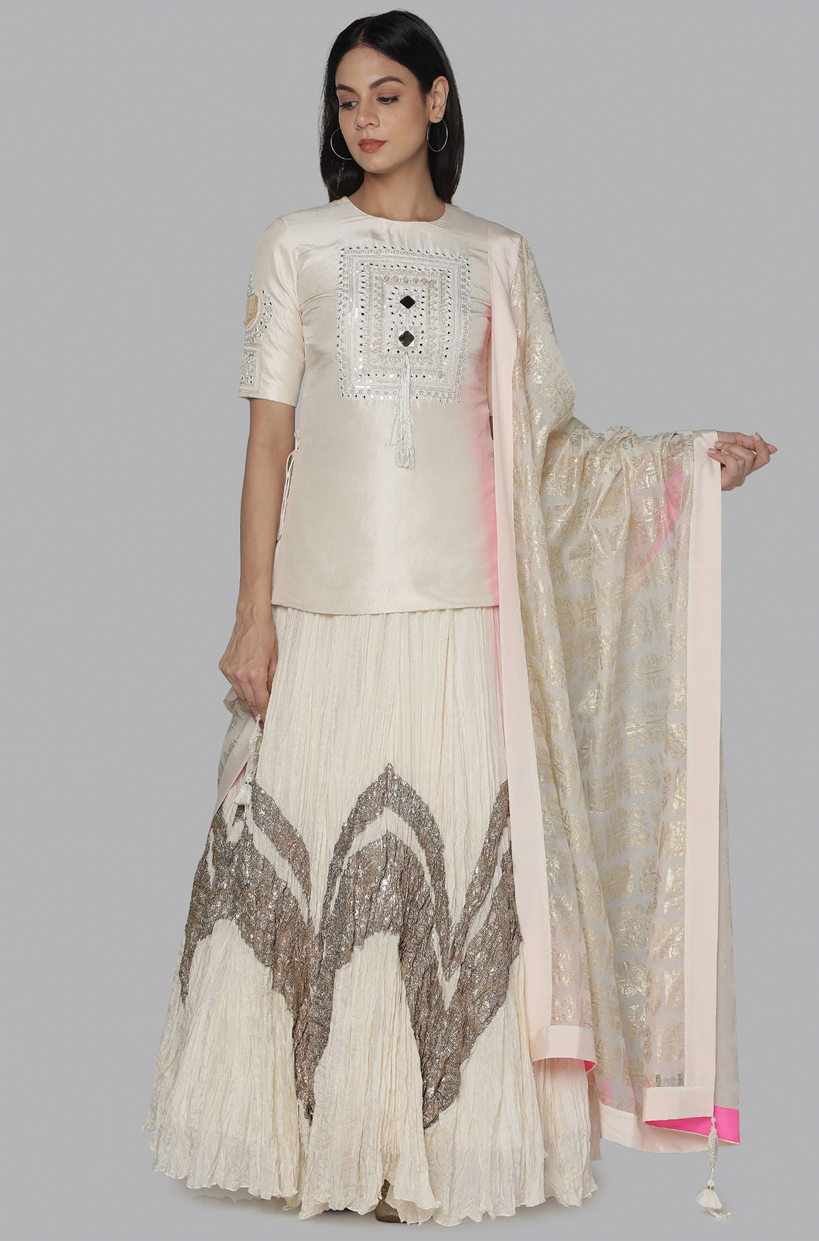 IVORY CRINKLE GOTA LEHENGA SET - The Grand Trunk