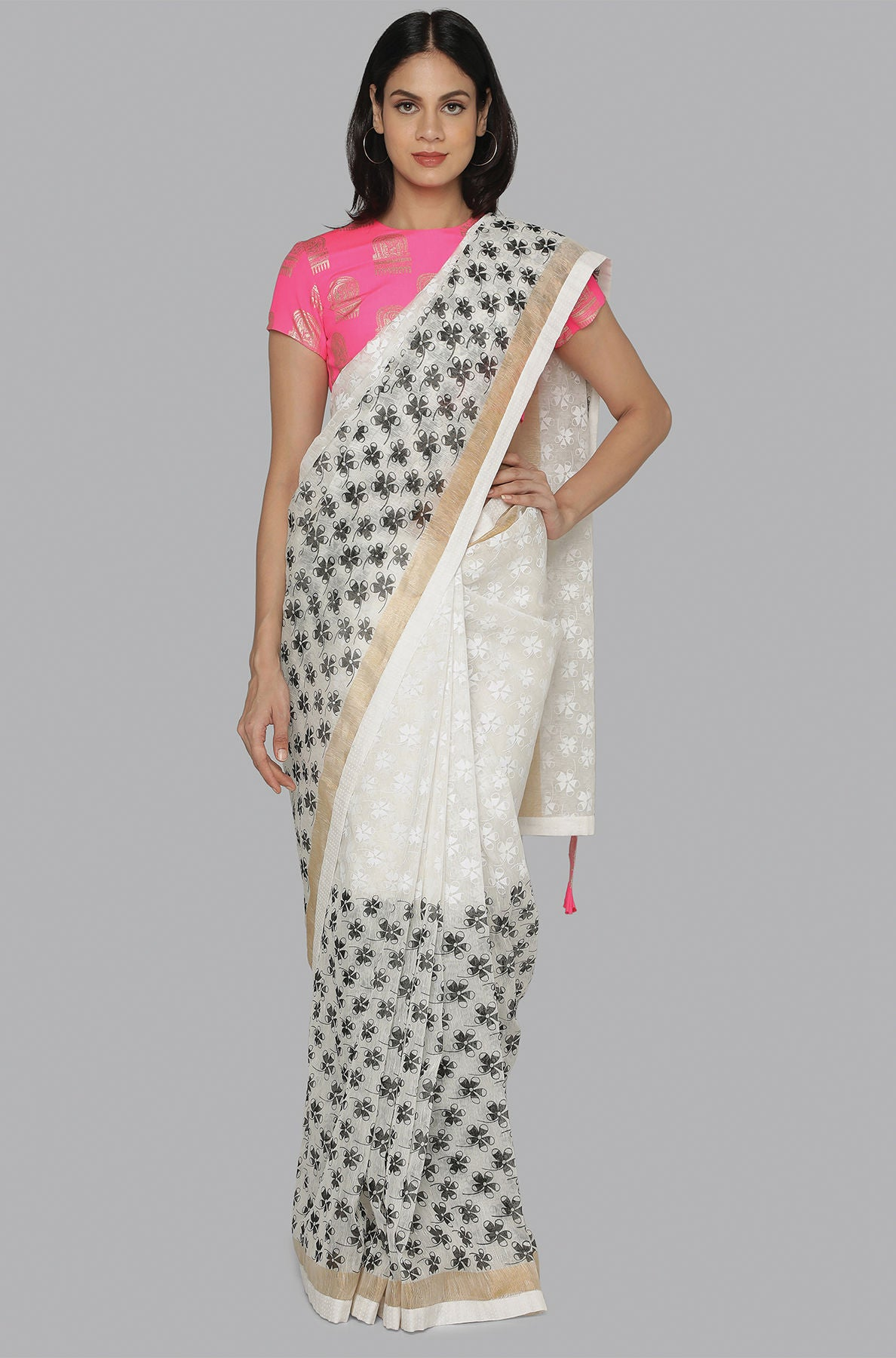 WHITE & BLACK PETAL PRINTED HALF N HALF BANARSI SARI WITH CANDY PINK COMB BLOUSE PIECE - The Grand Trunk