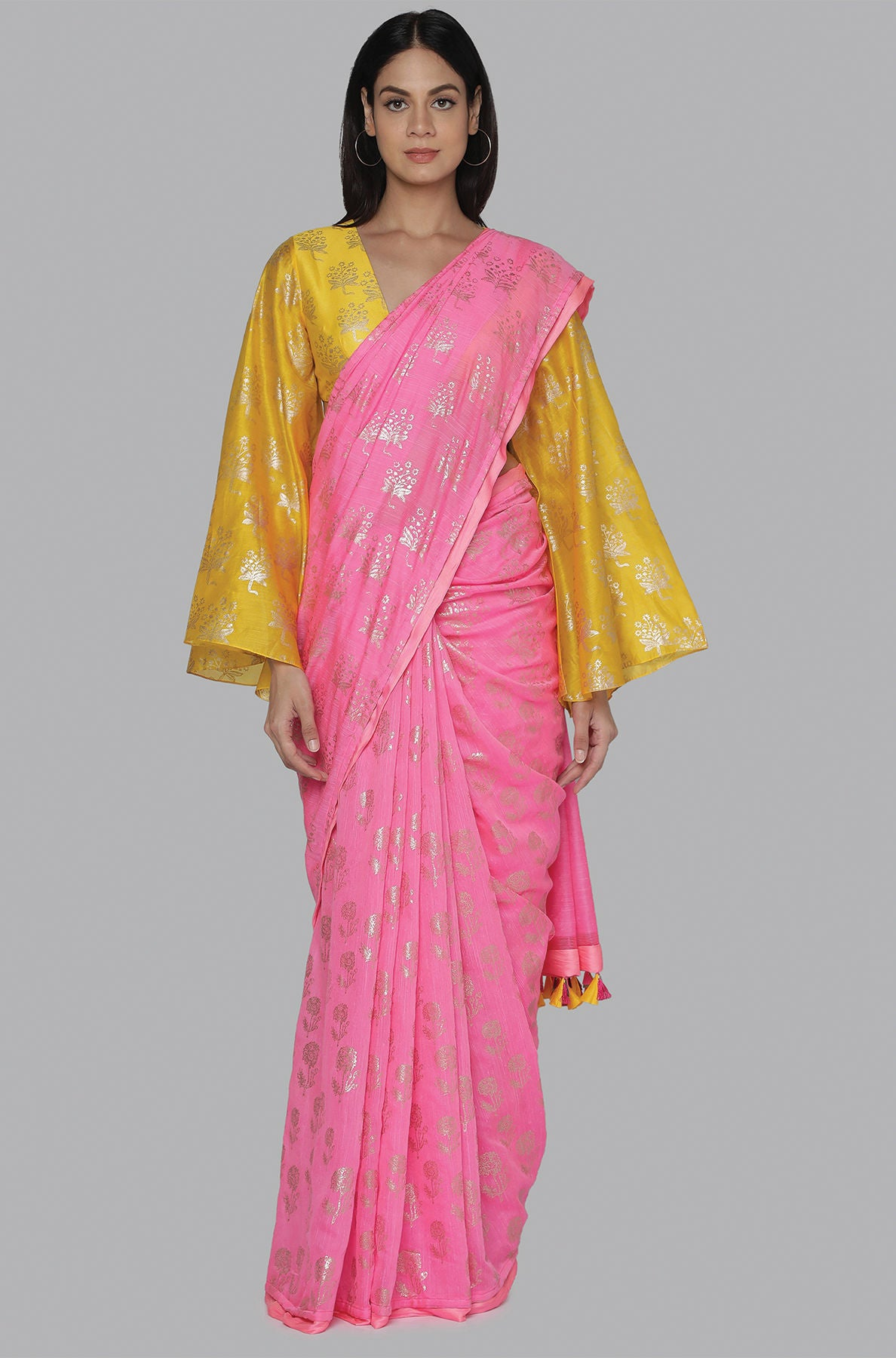 CANDY PINK STAR FLOWER AND MARIGOLD FOIL HALF AND HALF BANARSI SARI WITH YELLOW STAR FLOWER FOIL BLOUSE - The Grand Trunk