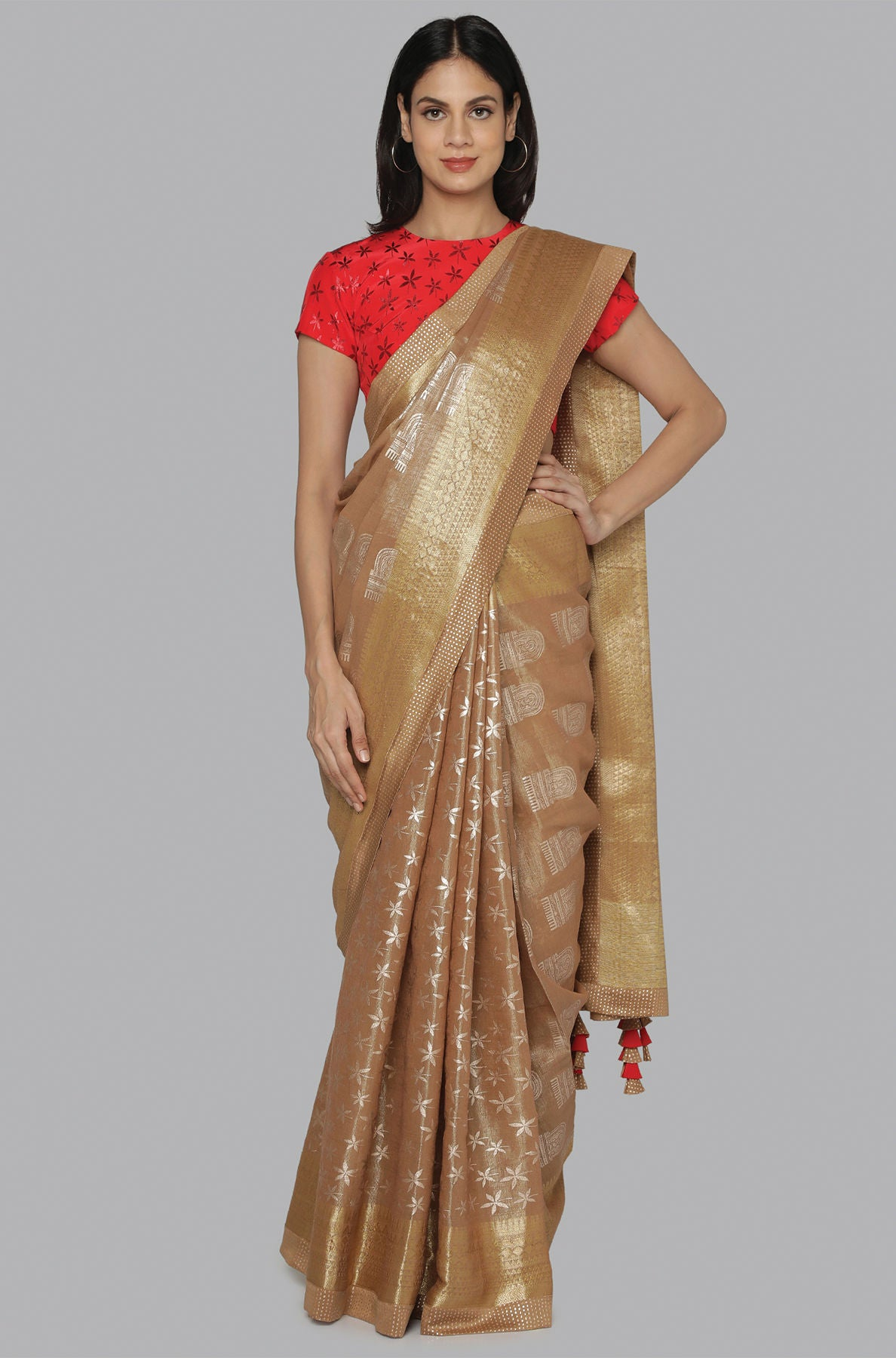 BROWN STAR FLOWER AND COMB FOIL HALF AND HALF BANARSI SARI - The Grand Trunk
