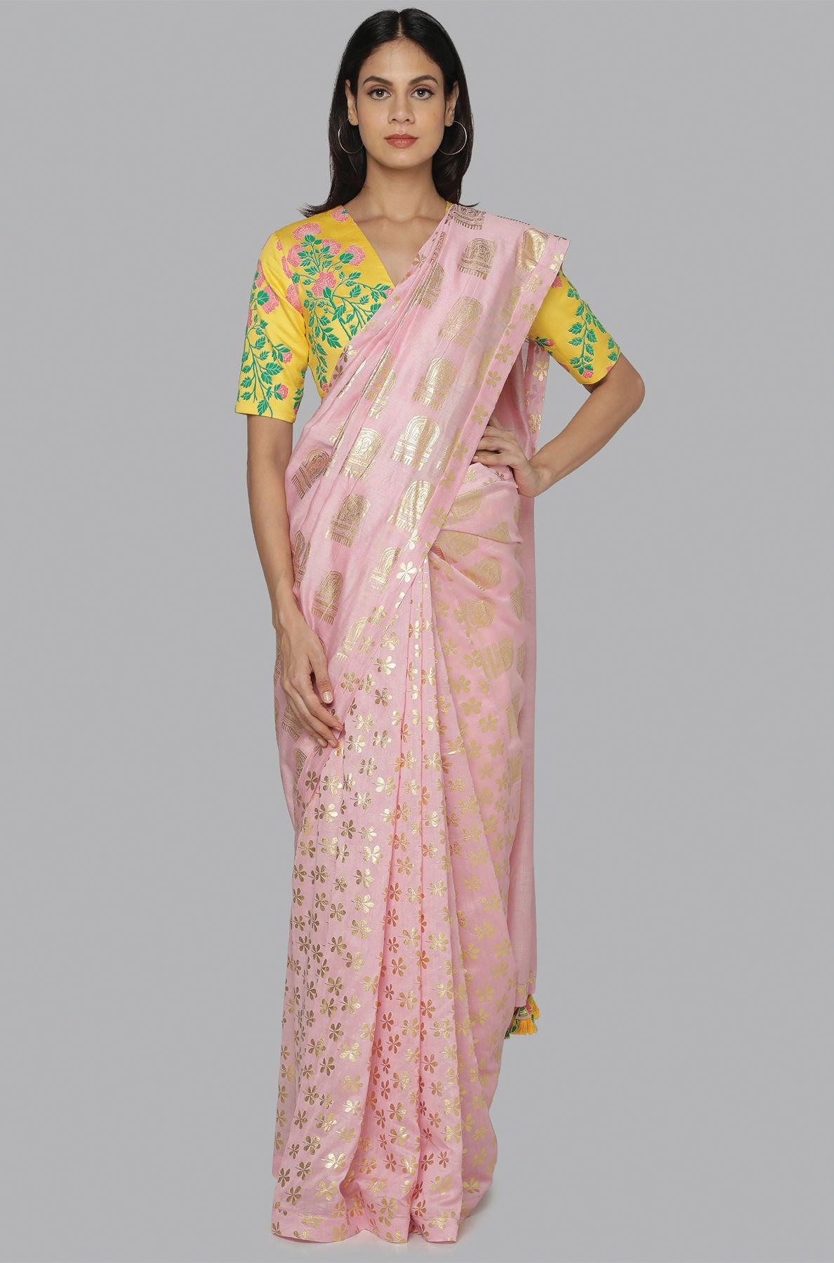 LIGHT PINK  COMB & SPARKLE FOIL HALF & HALF SARI WITH YELLOW FLORAL BLOOM BLOUSE PIECE - The Grand Trunk