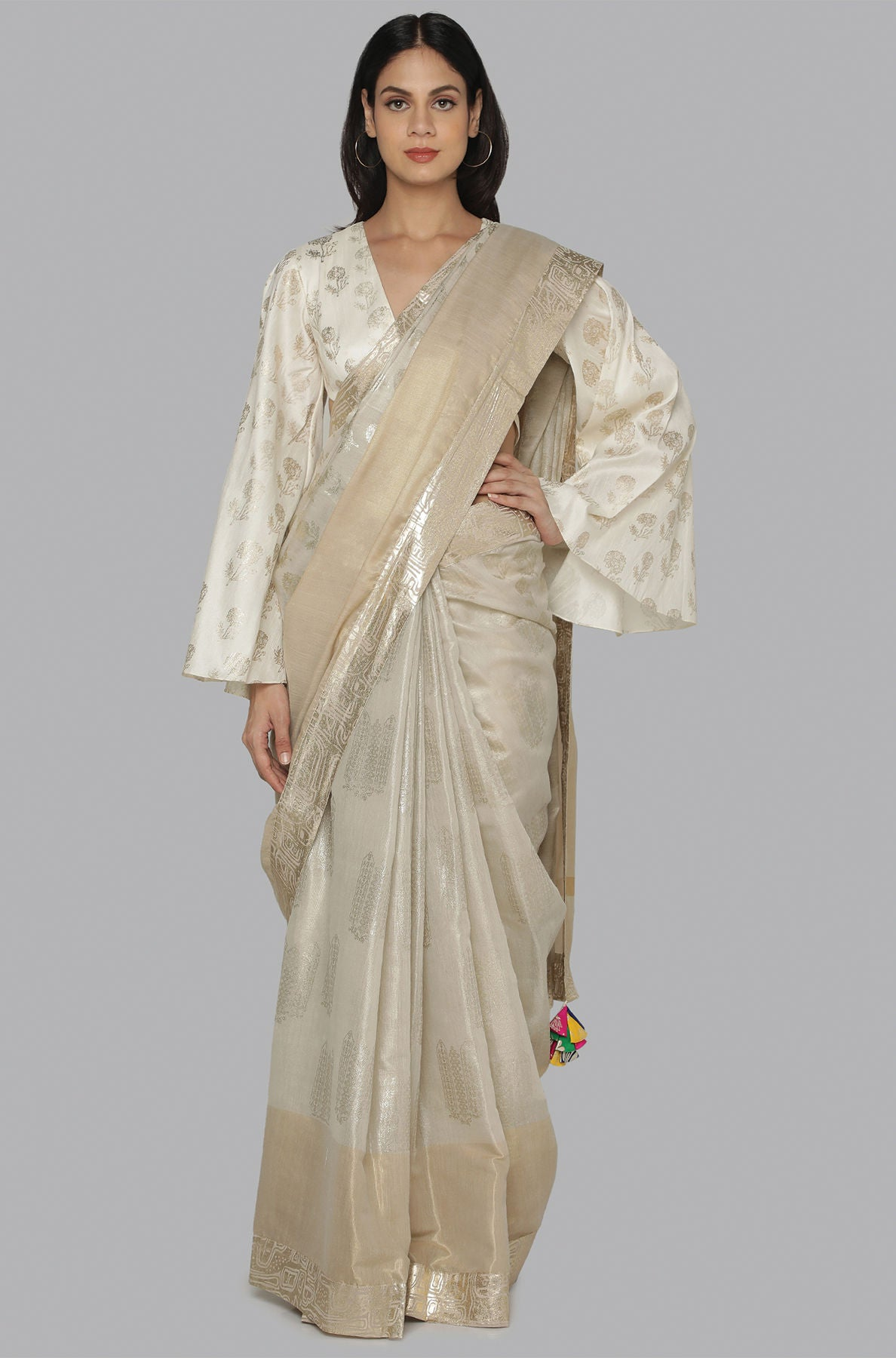 IVORY SILVER GOLD MARIGOLD FLOWERS AND NEEDLES FOIL HALF & HALF BANARSI SARI IVORY MARIGOLD FOIL BLOUSE PIECE - The Grand Trunk