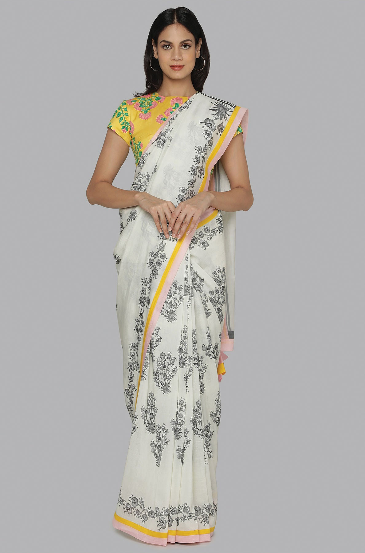 IVORY HIBISCUS SARI WITH YELLOW FLORAL BLOOM BLOUSE PIECE - The Grand Trunk