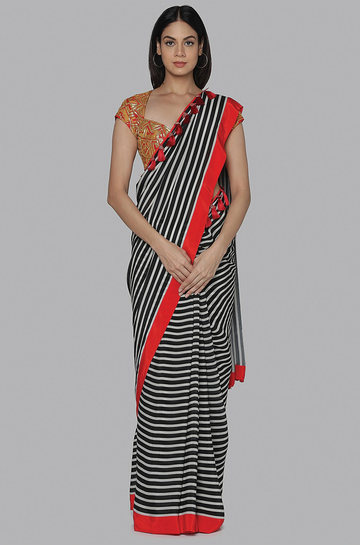 BLACK AND WHITE STRIPES SARI WITH RED EMBROIDERED BLOUSE PIECE - The Grand Trunk