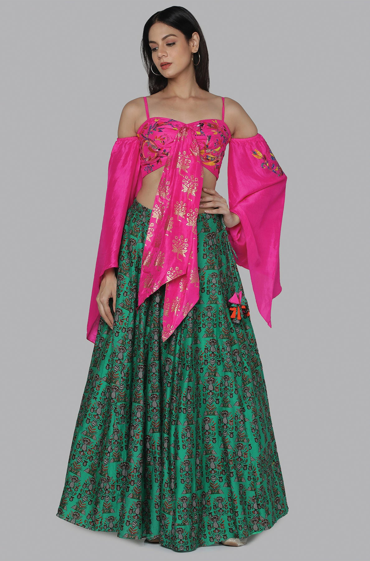 PINK EMB. BLOUSE WITH GREEN FLOWER GARDEN LEHENGA - The Grand Trunk