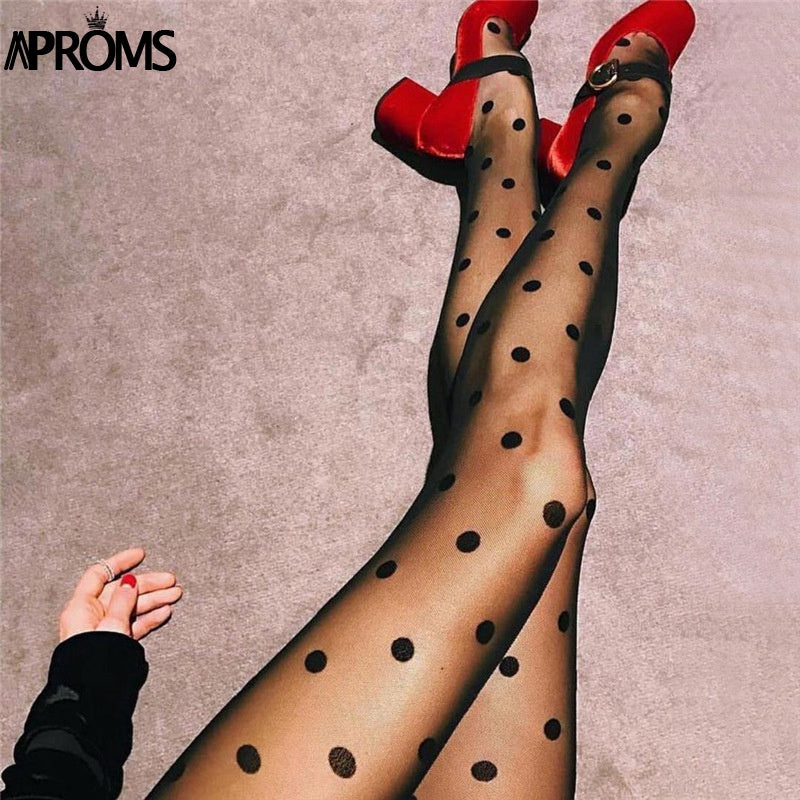 e03d2c0491 Aproms Sexy Polka Dot See Through Stretch Mesh Tights Women Sheer Stockings  Tight Cool Girls Collant Pantyhose Hosiery 2018