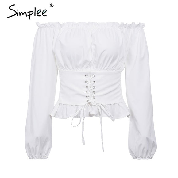910d2413db9445 Simplee Off shoulder lace up sexy blouse shirt Women ruffle long sleeve  blouse tops 2018 Vintage