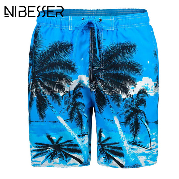 ea597f8747d05 NIBESSER Board Shorts Men 2018 Summer Tree Printed Casual Breathable Quick  Dry Beach Swimwear Shorts Clothing