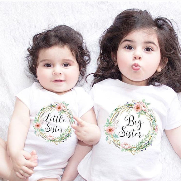 f583bae5a0d67d Big Sister Little Sister Clothes Short Sleeve Cotton Tops T-Shirt Family  Matching Outfits Floral