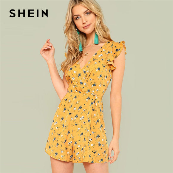 5234375109a SHEIN Ginger Ruffle Shoulder Calico Print Wrap Romper Women V neck  Sleeveless High Waist Playsuits 2018