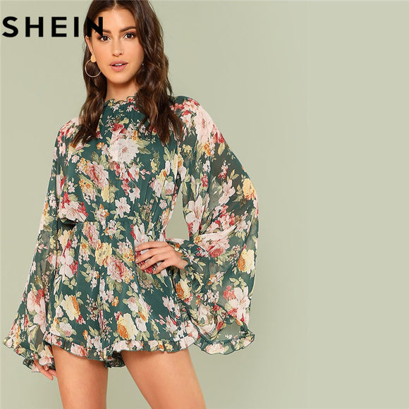 854692bfcee2 SHEIN Summer Beach Vacation 2018 Women Backless Floral Playsuit Exaggerated  Bell Ruffles Sleeve Frill Detail Boho