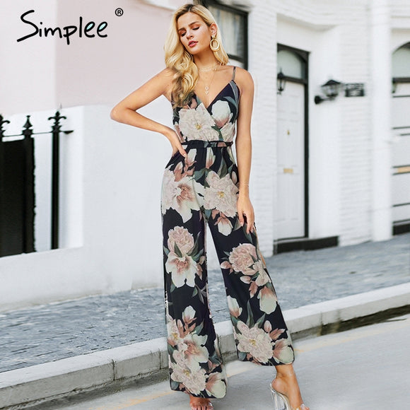 8dc80d0729f Simplee Sexy floral print women jumpsuit Loose V-neck elastic strap playsuits  summer Fashion backless