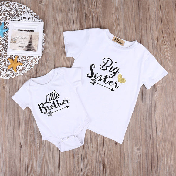 71856d77d 2018 Summer Big Sister Little Brother Family Matching Toddler Kids Baby Boys  Little Brother Romper Girls
