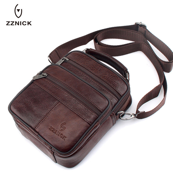 436bd51a1bc6 ZZNICK 2018 Genuine Cowhide Leather Shoulder Bag Small Messenger Bags Men  Travel Crossbody Bag Handbags New