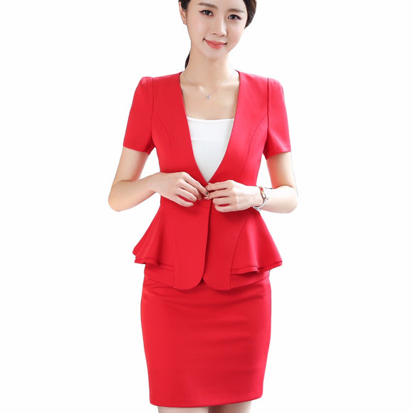 2a57a94e55ae Women 2018 RUFFLES skirt suits Office Lady Summer Slim Blazers With Skirt  Two Piece Set Business