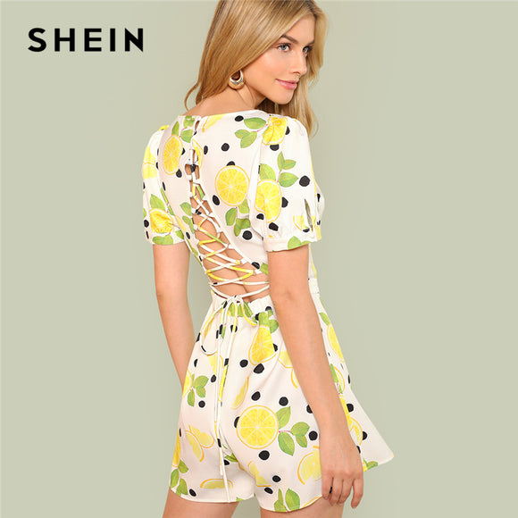 567c27cd6d3 SHEIN Multicolor Vacation Bohemian Beach Backless Sexy Lace Up Back Lemon  Print High Waist Romper Summer